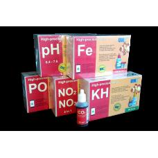 Набор тестов для пресной аквариумной воды UHE pH,KH,NO2,NO3,PO4,Fe,CO2